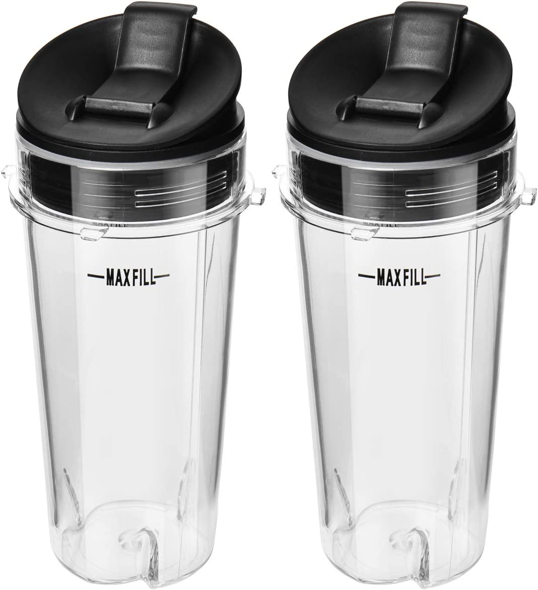 2 Pcs 16oz Cups for Ninja Blender with 4 Prongs,16 Ounce Single Serve Cups Replacement Parts Assembly with Flip Lid for Nutri Ninja BL660 BL740 BL770 BL771 BL773CO BL810 BL820 BL830