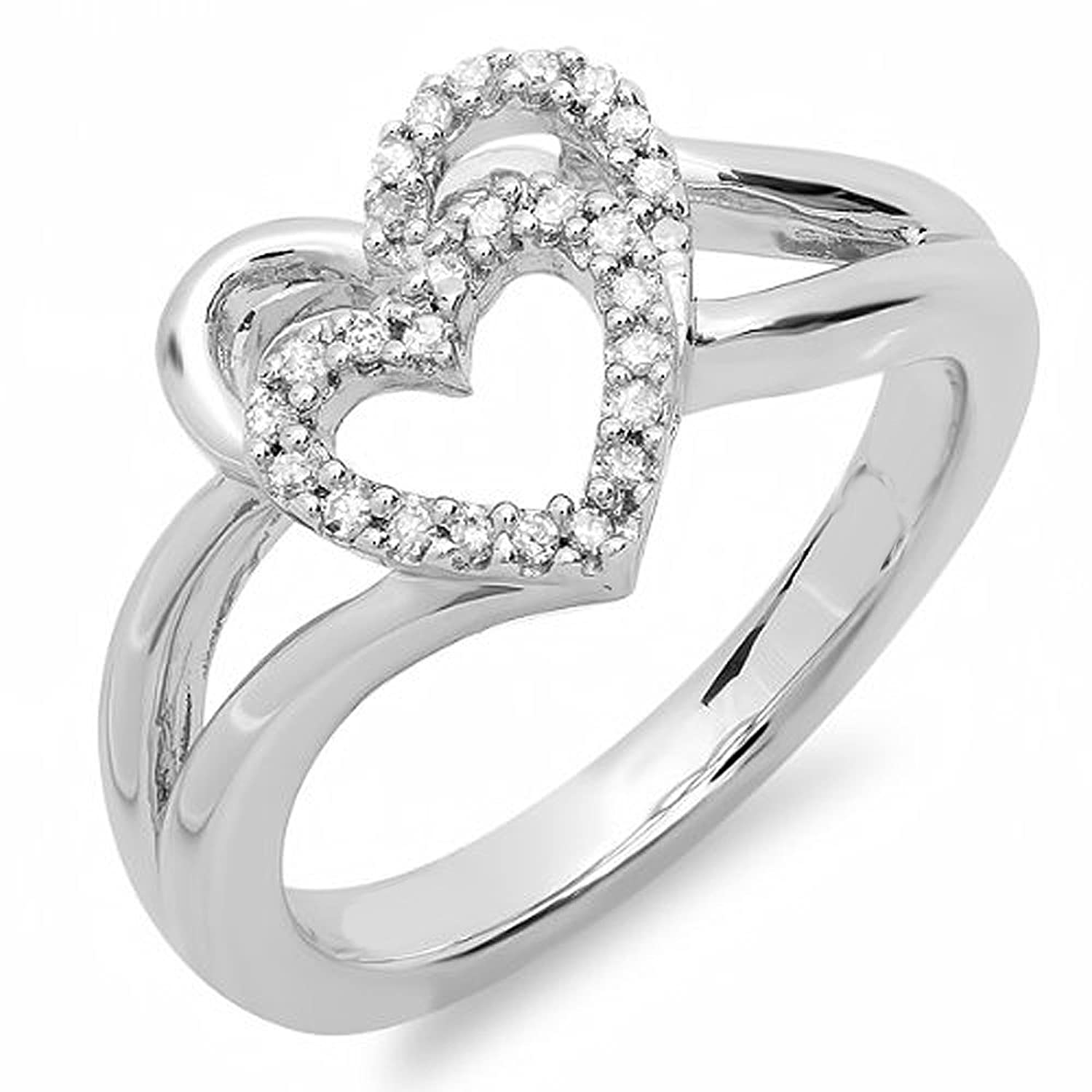 0.15 Carat (ctw) Sterling Silver Round White Diamond Ladies Promise Double Heart Love Engagement Ring