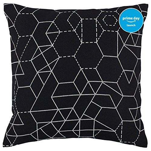 "Rivet Modern Geometric Print Pillow, 20"" x 20"", Black"