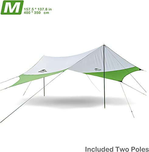 Topnaca Lightweight Camping Tarp Shelter Beach Tent Sun Shade Awning Canopy with Tarp Poles, Portable Waterproof Sun-Proof 204.7×181 in 157.5×137.8 in for Hiking Fishing Picnic