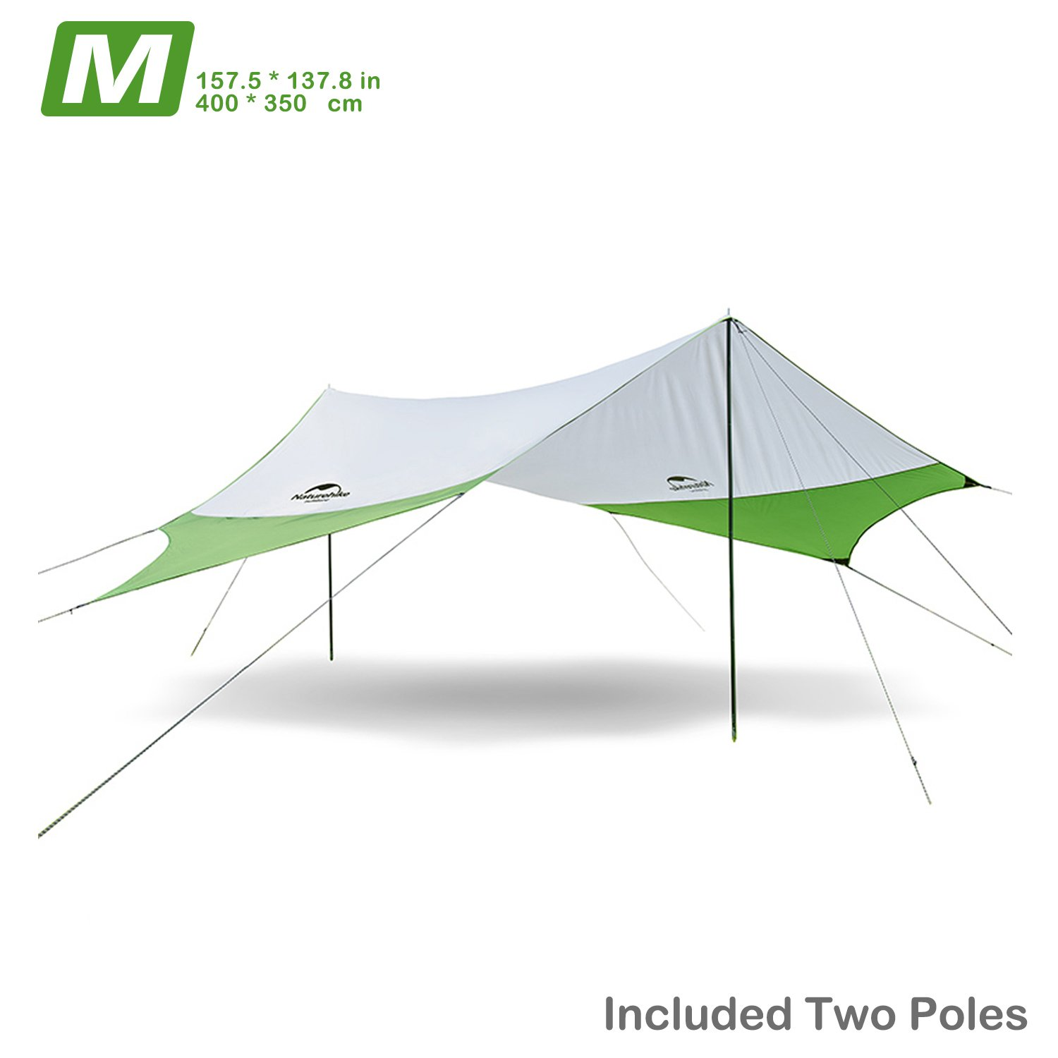 Topnaca Naturehike Lightweight Camping Tarp Shelter Beach Tent Sun Shade Awning Canopy with Tarp Poles, Portable Waterproof Sun-Proof 204.7x181/157.5x137.8 for Hiking Fishing Picnic (Green&Grey-M) by Topnaca