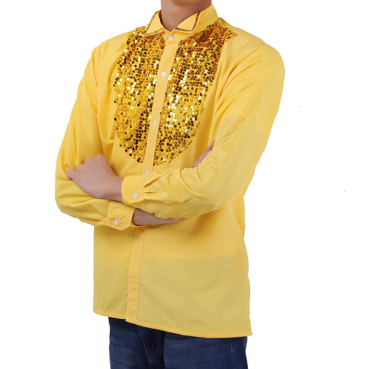 MSemis Camisa de Baile Salsa Jazz para Hombres Camisas con Lentejuelas Slim Fit Manga Larga Talla Grande M-XL