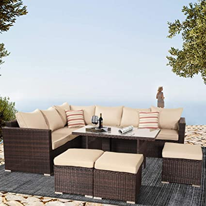 Wisteria Lane Outdoor Patio Furniture All Weather Wicker Chair /& Glass Coffee Tea Table for Sectional Sofa or Conversation Set Grey Wicker with Blue Cushion