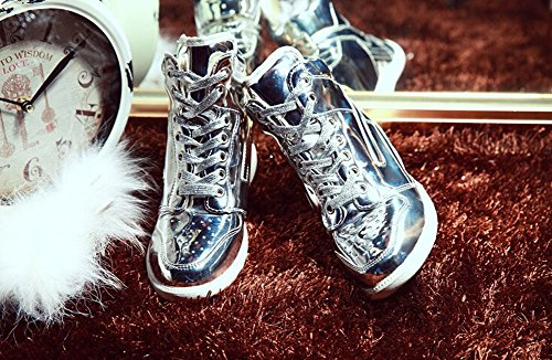2014 high quality sneakers fashion high top womens leather shoes ladies wedges sneakers Silber