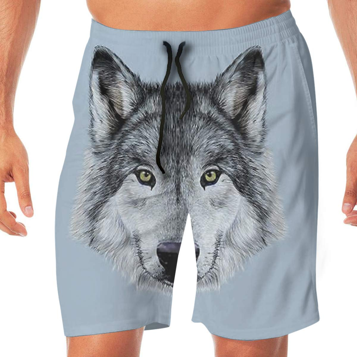 MaoYTUI Wolf Beautiful Animal Mens Swim Trunks Boys Quick Dry Bathing Suits Drawstring Waist Beach Broad Shorts Swim Suit Beachwear with Mesh Lining