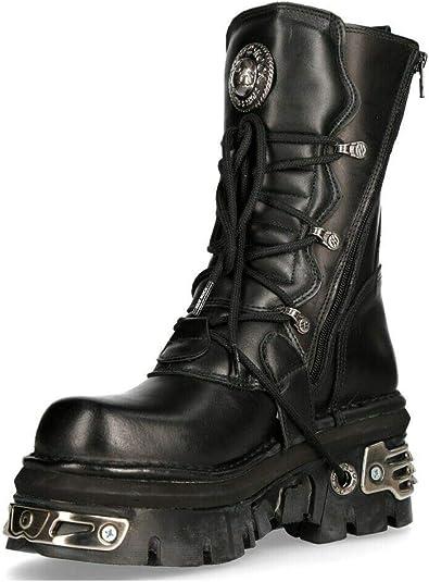 New Rock M.373-S4 Metallic Boots Black 100/% Leather Goth Biker Emo Fashion