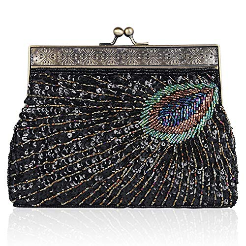 (BABEYOND 1920s Flapper Peacock Clutch Gatsby Sequined Evening Handbag Beaded Bag (Style 2-Black))