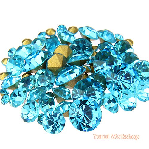 (Lake Blue, ss16, 4mm, 1440pcs) Pointed Back Round Glass Faceted Rhinestones Scrapbooking Cabochon Nail Art Craft