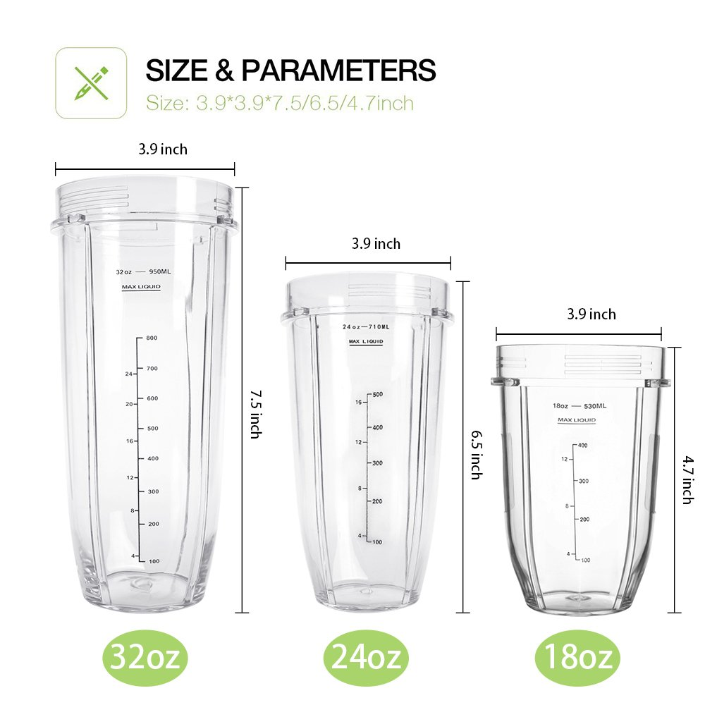 Nutri Ninja 24OZ Replacement Parts,QT Nutri Ninja Replacement Cups With Sip & Seal Lid,710ML(24oz) Measuring Scale Cup Mug, FIT FOR Nutri Ninja Auto IQ Series Blenders Juicer Mixer Accessory