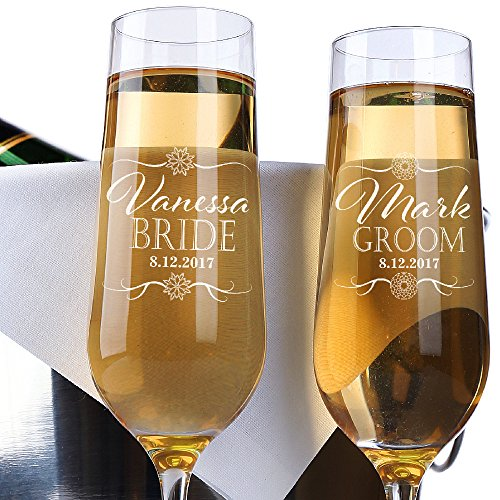 P Lab Set of 2, Bride Groom Names & Date Flower, Personalized Wedding Toast Champagne Flute Set, Wedding Toasting Glasses - Etched Flutes for Bride & Groom Customized Wedding Gift #N10