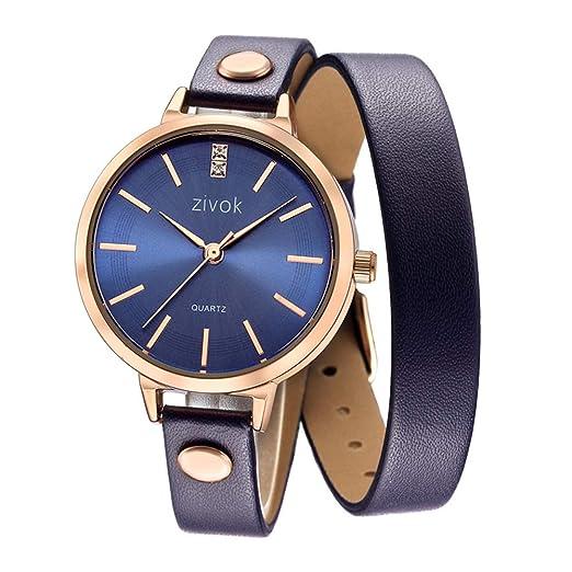 Relojes Pulsera Fino Larga Doble Círculo Correa de Cuero Rhinestone Cuarzo Brazalete Relojes Mujer Elegante, Azul: Amazon.es: Relojes