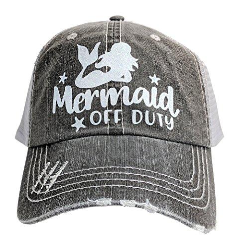 Loaded Lids Women's Mermaid, Mermaid Off Duty, Bling Baseball Cap (Grey/WhiteGlitter)