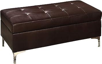 Amazon Com Benjara Benzara Rectangular Tufted Leather Ottoman