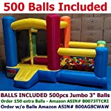 """BALLS INCLUDED - My Bouncer Little Castle Bounce House w/ Built-in Ball Pit and 500 pcs 3.1"""" Crush-Proof Home Grade Balls"""