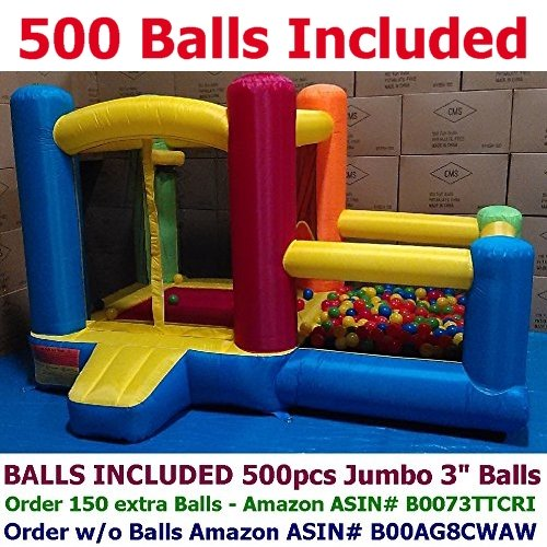 """BALLS INCLUDED - My Bouncer Little Castle Bounce House w/ Built-in Ball Pit and 500 Jumbo 3"""" Crush-Proof Home Grade Balls - 88"""" x 118"""" x 72"""" ( AZ-600 w/ 500 Jumbo Balls Included )"""