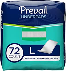 Prevail Fluff Incontinence Underpads, 18 Count, Pack of 4