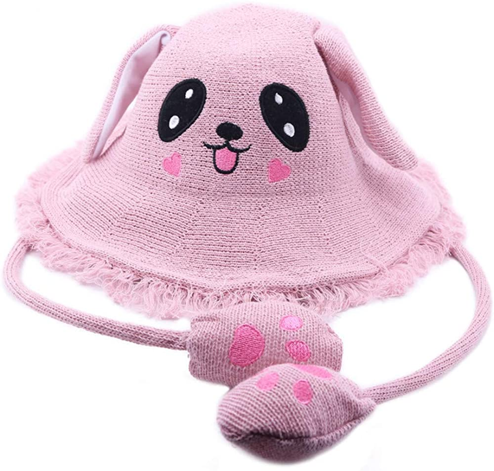 Summer Beach Sun Protection Hat with Moving Rabbit Ears Gifts for Girls Pink Bestmaple Cartoon Fisherman StrawHat