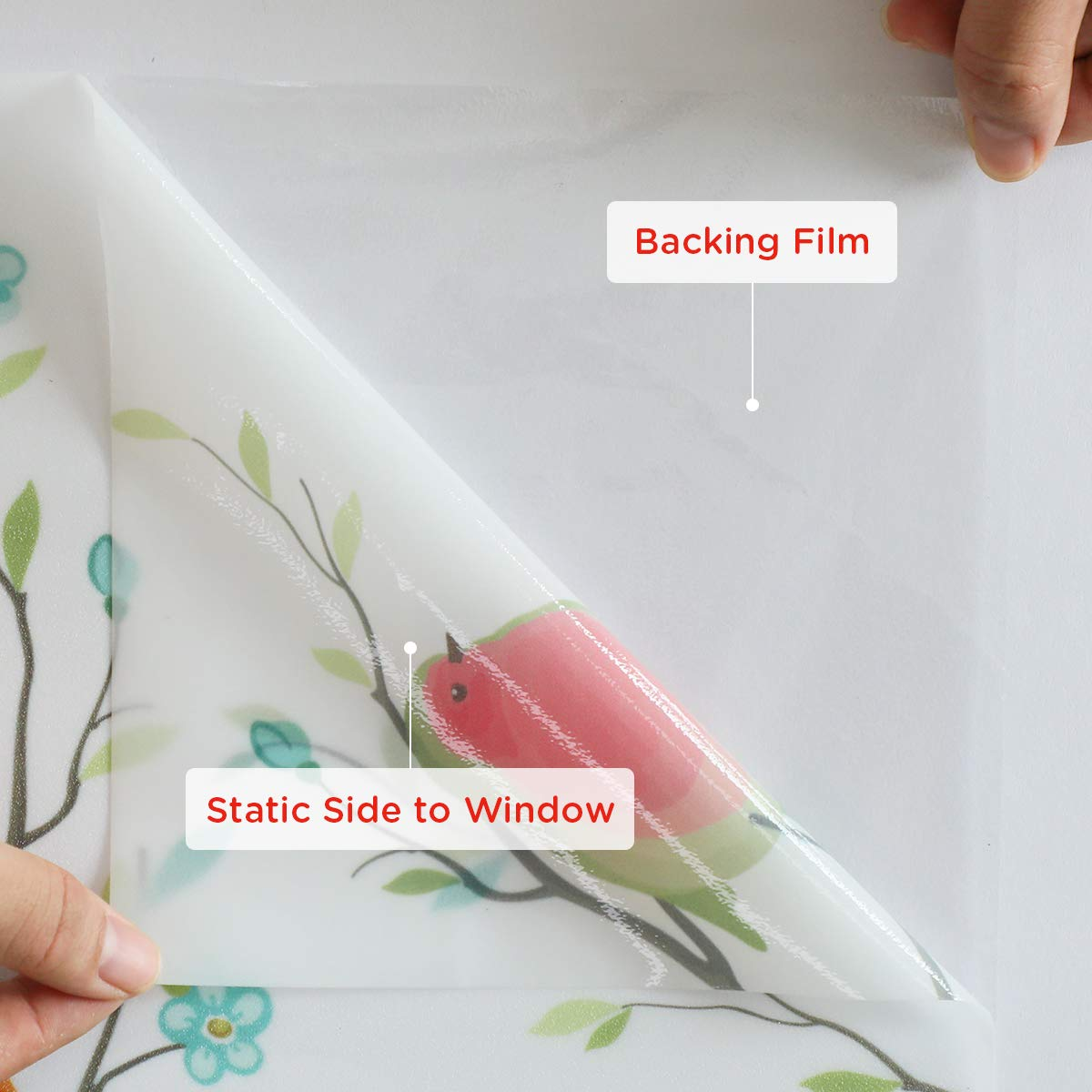 Coavas Privacy Window Film Non-Adhesive Frosted Bird Window Film Decorative Glass Film Static Cling Film Bird Window Stickers for GF-WF-90-2B Home Office 35In. by 78.7In. (90 x 200Cm) by Coavas (Image #2)