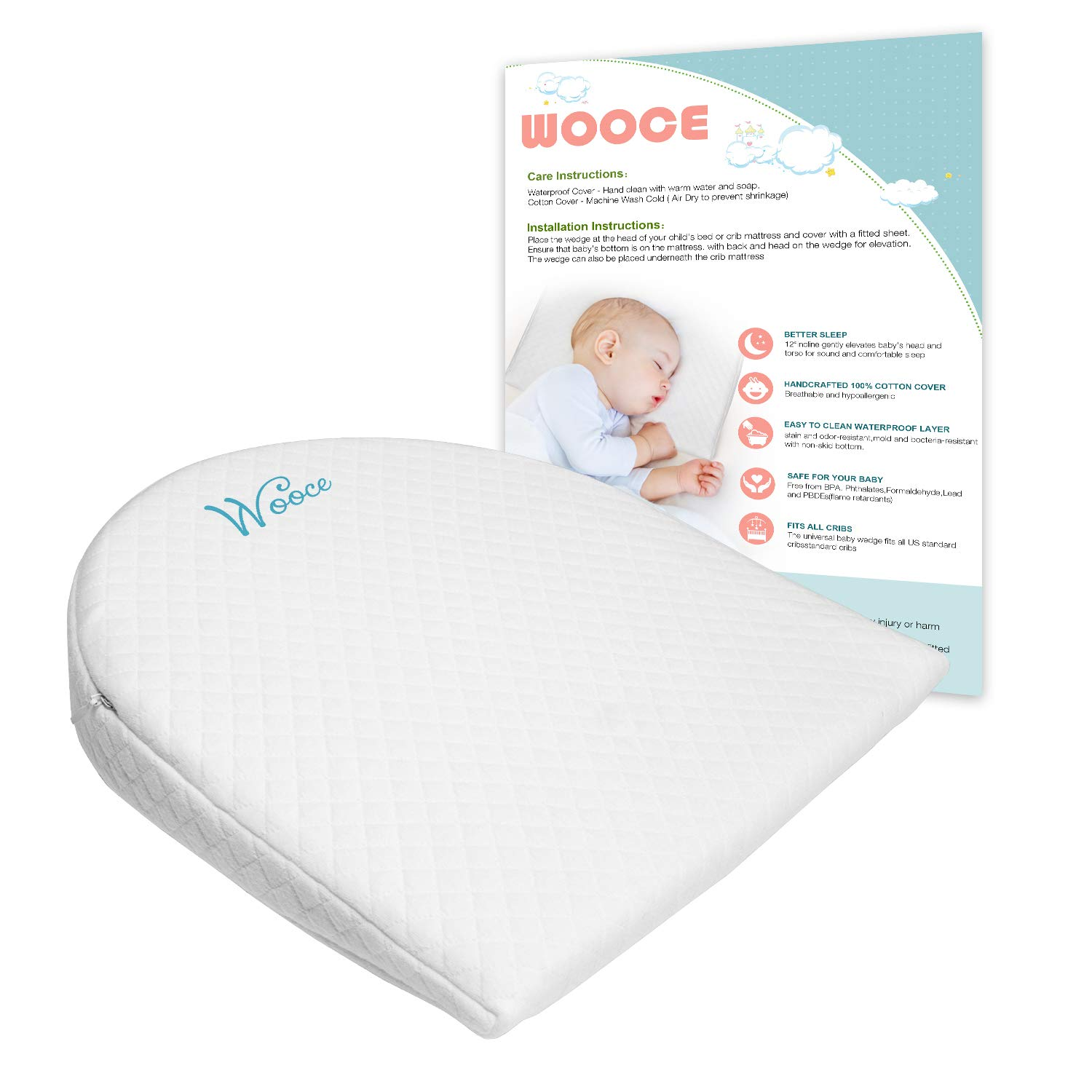 Bassinet Wedge for Baby Reflux | Baby Mattress | Infant Sleep Positioner with Removal Waterproof Cotton Cover |12-Degree Incline for Better Sleep Wooce