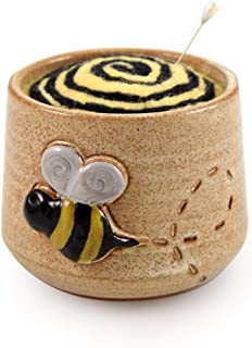 product image for Busy Bee Pincushion - American Made Stoneware Pottery and Felted Wool