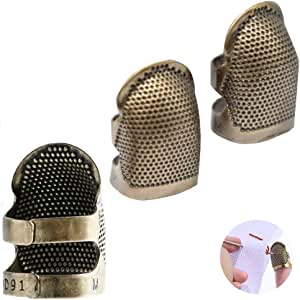 Envysun Fingertip Thimble, Adjustable Medium Thimble Copper Sewing Finger Protector Metal Shield Sewing Embroidery Needlework Tool-3 Pieces