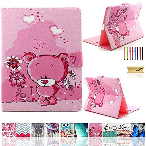 iPad 2/3/4 Case, Dteck(TM) Cartoon Cute Pattern PU Leather Flip Wallet Case with [Cards Slots&Money Holder] for Apple iPad 2/ iPad 3 / iPad 4 9.7 Inch (01 Pink Bear)