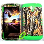 Cellphone Trendz High Impact Hybrid Rocker Case for Samsung Galaxy Mega 6.3 – Hard Real Camo Oak Tree Big Branch Design (Lime Green)