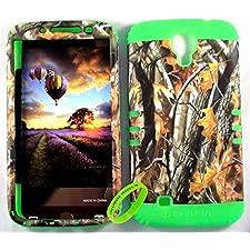 Cellphone Trendz High Impact Hybrid Rocker Case for Samsung Galaxy Mega 6.3 – Hard Real Camo Oak Tree Big Branch Design (Lime Green)
