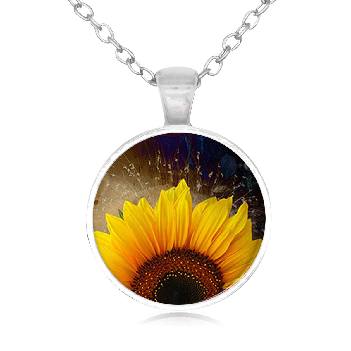 Family Decor Sunflower Pendant Necklace Cabochon Glass Vintage Bronze Chain Necklace Jewelry Handmade
