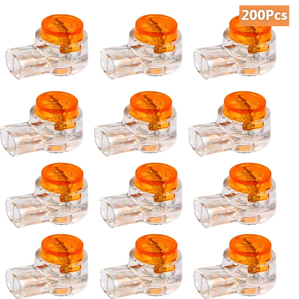 BUYGOO 200PCS Waterproof Gel-Filled Orange Clear Button Telephone Wire Connectors UY Butt Splice Connector K1 Network Cable Terminals