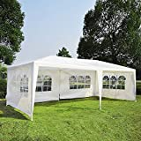 Tenozek White 10' X 20' Portable Outdoor Gazebo Canopy, Foldable Heavy Duty Wedding Party Tent with 4 Sidewalls