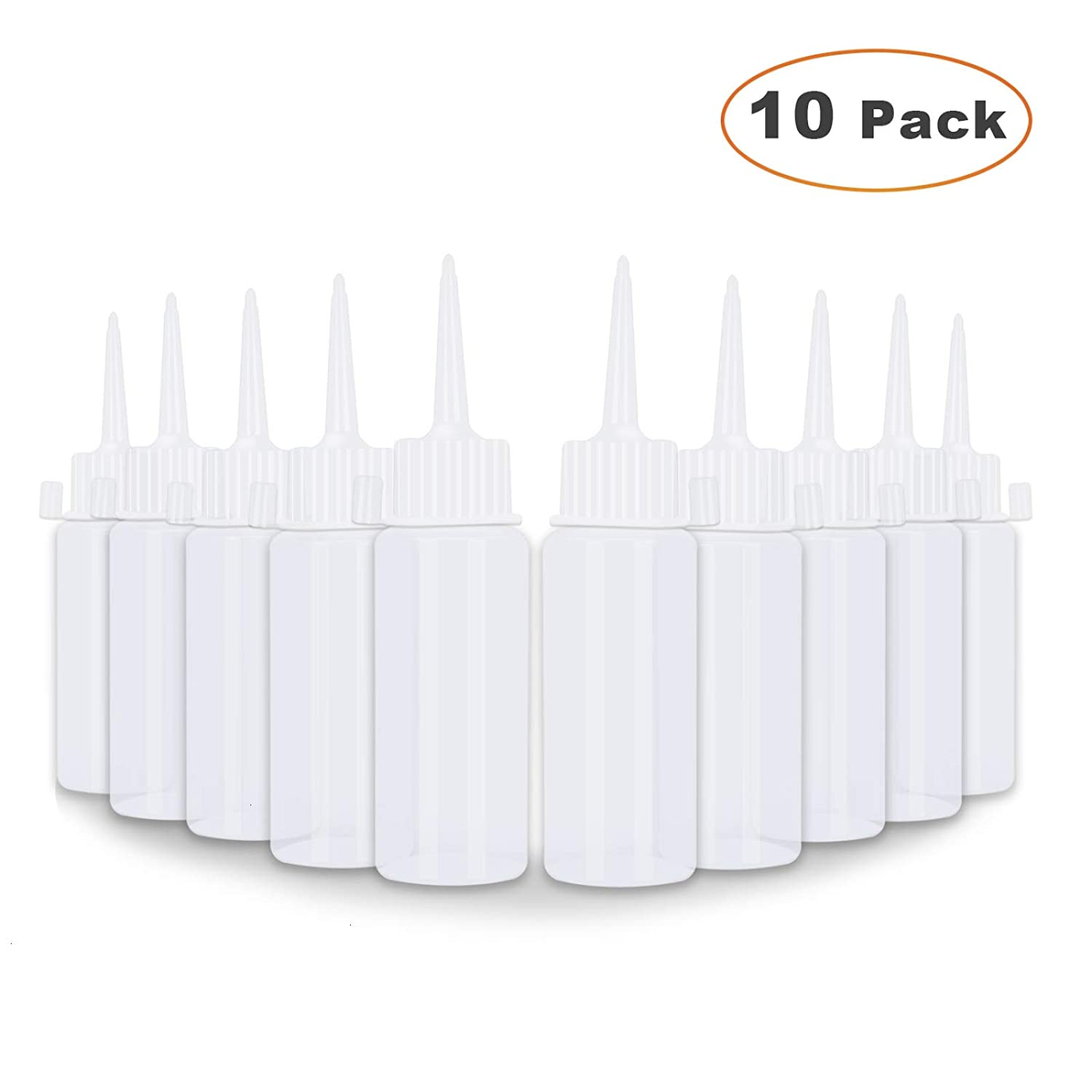 Timoo Applicator Bottle -10 Pack Empty Plastic Squeeze Bottle for Small Gluing Projects, Paper Quilling, DIY Craft Glitter Glue, Art Paint, Crafts Projects, Jewelry Making