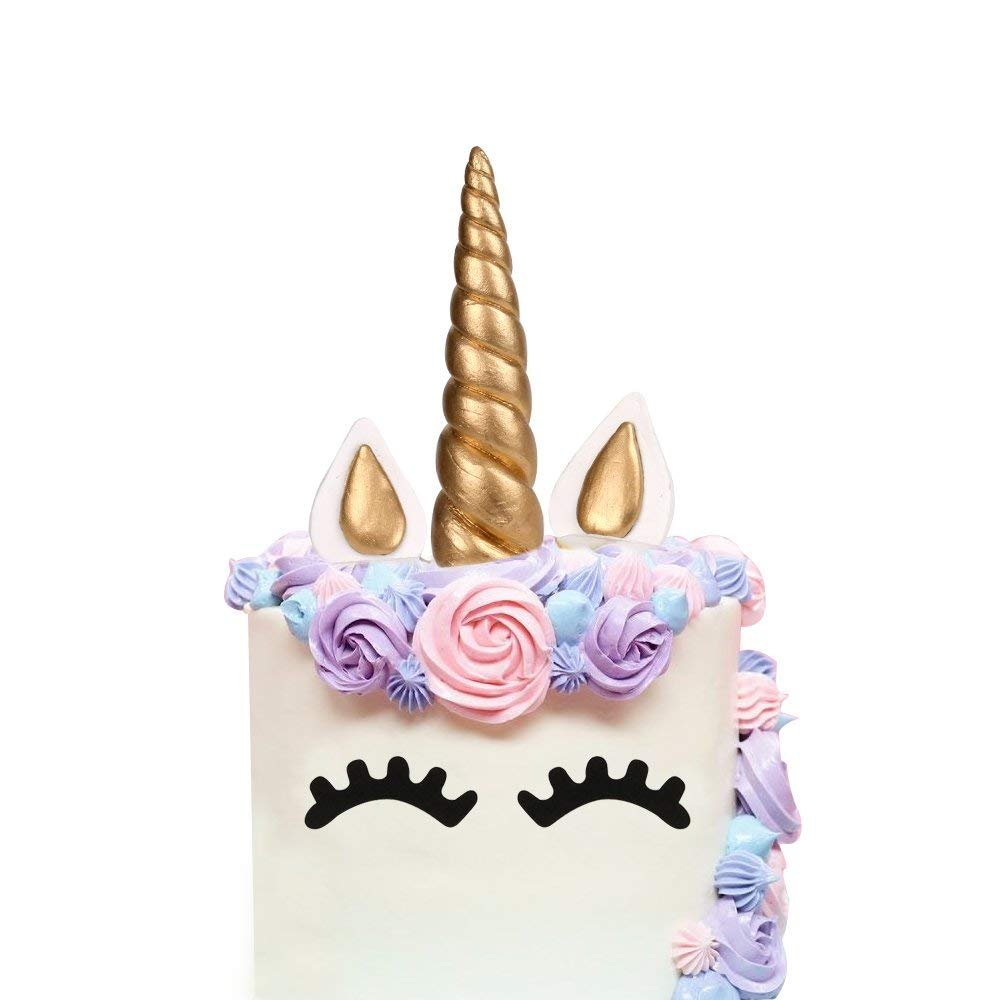 LUTER Cake Topper, Handmade Gold Unicorn Birthday Cake Topper, Reusable Unicorn Horn, Ears Eyelash Set, Unicorn Party Decoration Birthday Party, Baby Shower Wedding (Set of 5, 6 x 1.37in)