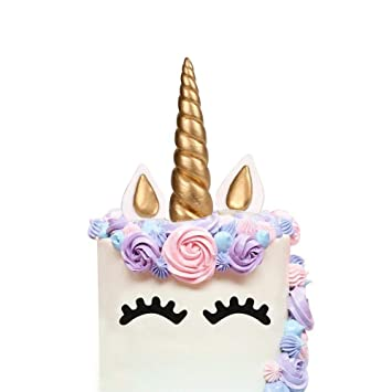 LUTER Cake Topper Handmade Gold Unicorn Birthday Reusable Horn Ears