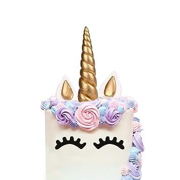 LUTER Cake Topper, 5 Cuenta Oro Hecho a Mano Feliz Cumpleaños Pastel Decoración Cumpleaños Cake Toppers, Unicornio Cuerno, Orejas y Pestañas, ...