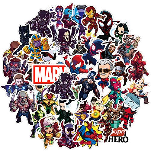 Cute Superhero Stickers for Hydro flasks[50pcs] Mavel The Avengers Decal for Laptop Phone Computer PC Water Bottle Bike Car Motorcycle Bumper Luggage Helmet Skateboard Snowboard, Best Gifts for Kids