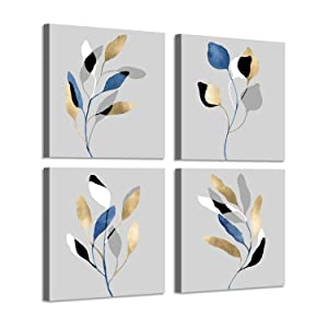 Leaf Artwork Nature Picture Painting: Branch with Golden Leaves, 4 Pieces Wall Decor Set