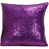 Sequins Pillow Case, Play Tailor Solid Color Glitter Paillette Sequins Pillowcase Throw Cushion Cover 40x40CM