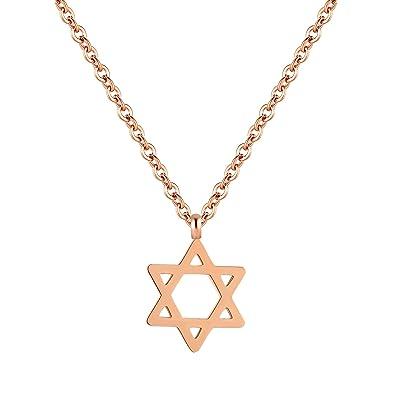 Um Pendentif De Or Femme Judaïsme Collier Religieux Étoile David Rose Bijoux Hexagram Juif cj5L3AqR4