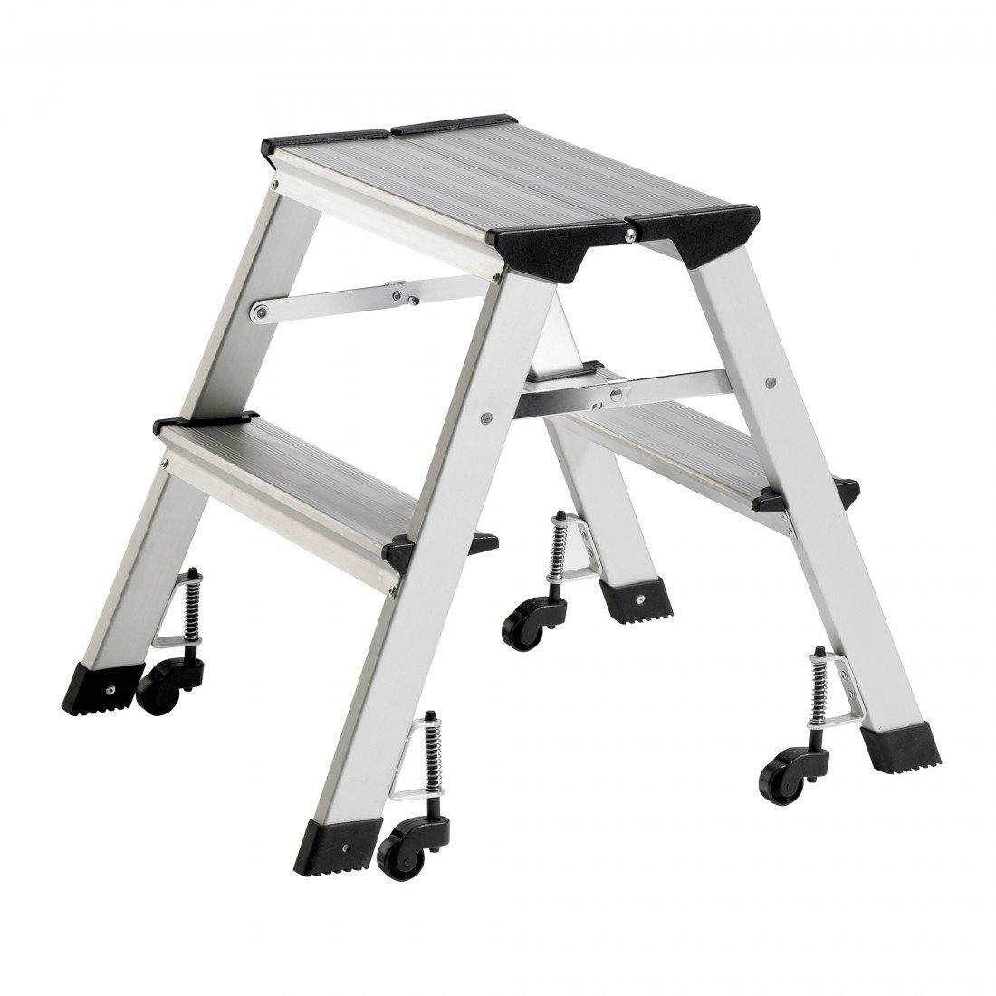 Alu Rolltrittleiter DR-Büro 1510 - Breite Standfuß 41 cm - Stufen und Plattform sind geriffelt - 2 stufig, mit Rollen - zusammenklappbar DR-Office