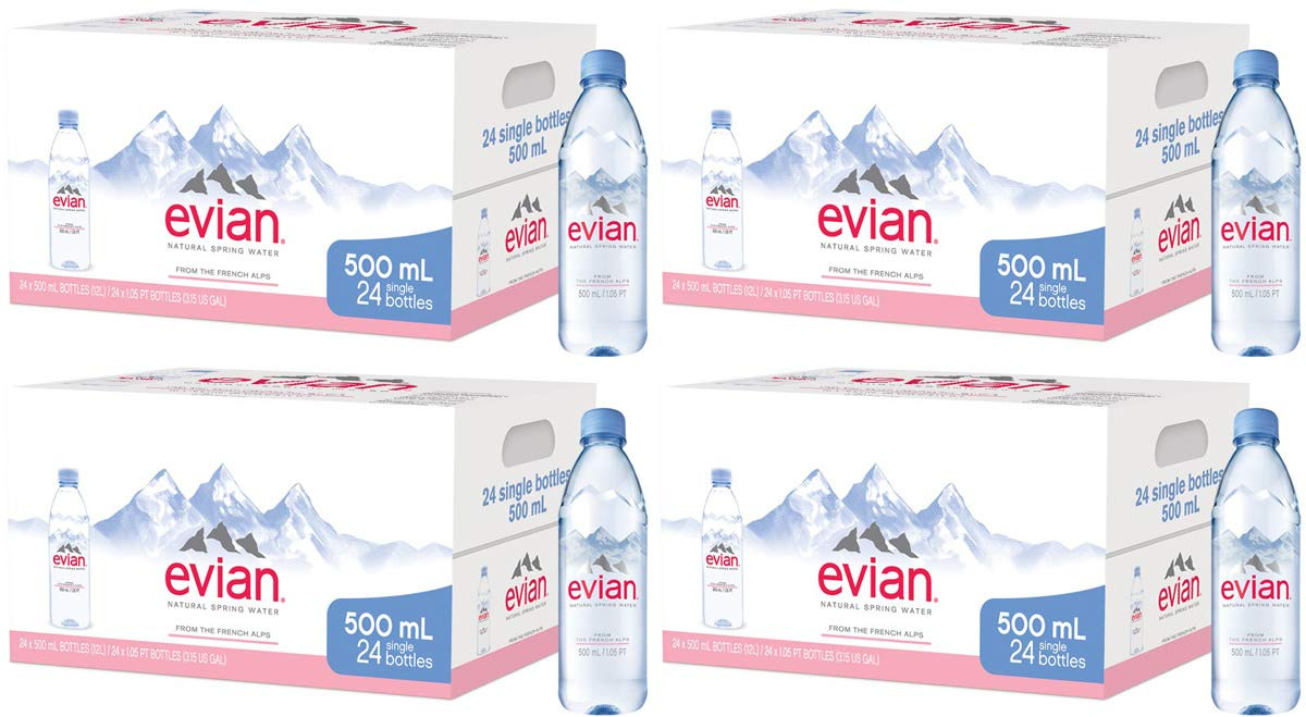evian Poli Natural Spring Water Individual 500 ml (16.9 oz.) Bottles, Naturally Filtered Spring Water in Individual-Sized Plastic Bottles, 4 Cases of 24