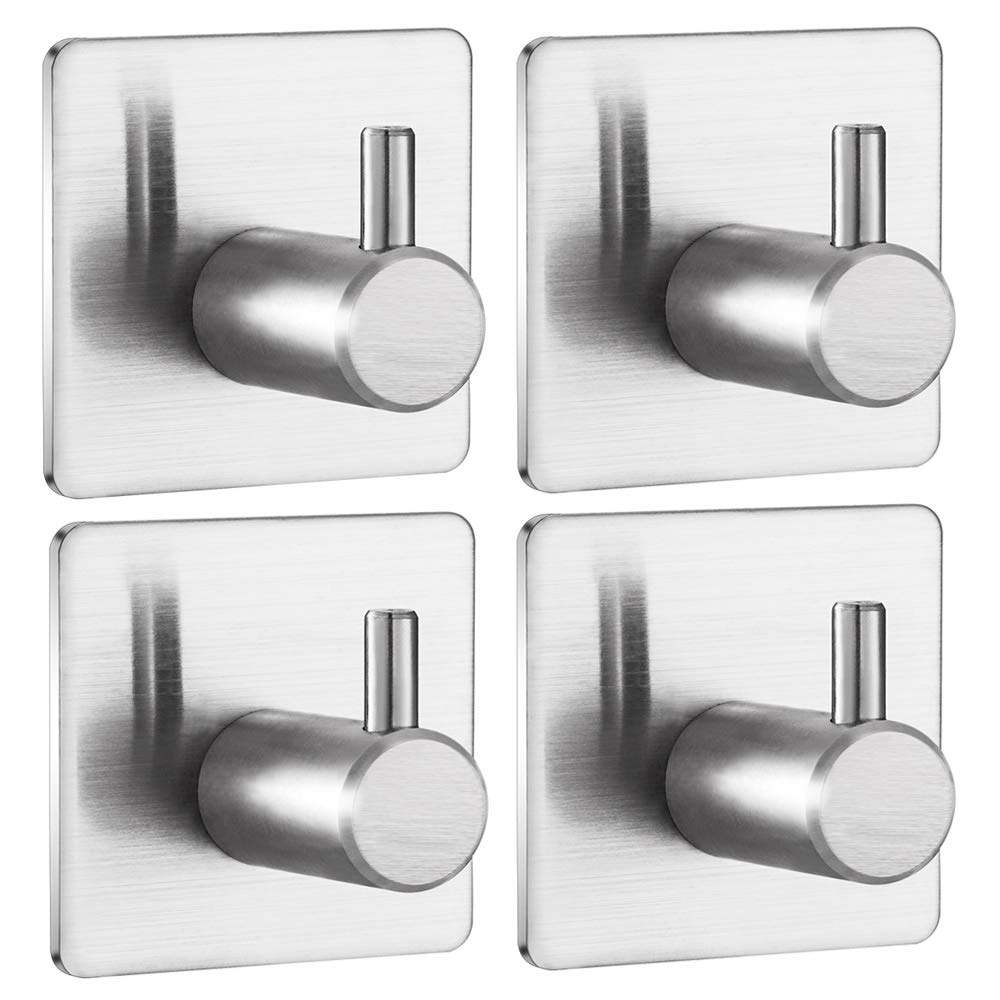 Jekoo Towel Hooks Heavy Duty, Self-Adhesive Coat Hooks Wall Hanger with Brushed Stainless Steel Stick on Bathroom Shower Kitchen Door Ideal for Robes, Hats, Clothes, Bags, Coats - 4 Packs