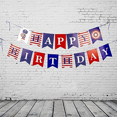 FishMM Happy Birthday Hanging Bunting Banners, Theme Party Decorations Signs, Red White Blue Flags for Baby (Happy Birthday On The 4th Of July)
