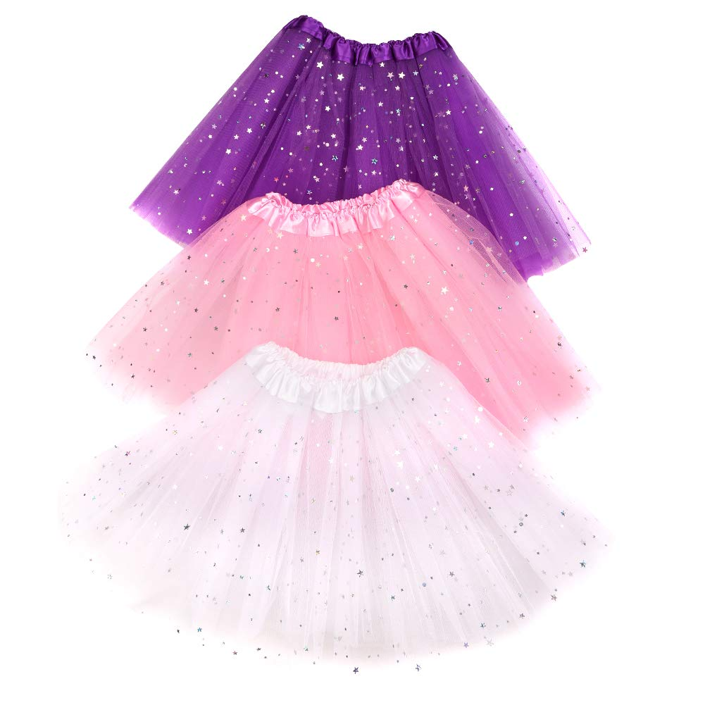 Quacoww 3 Pairs Ballet Tutu Skirt 3 Colors with Butterfly Hair Clips Dance Skirt White and Purple