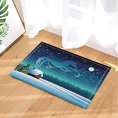 Orange Bamboo Rug - Christmas Bath Rugs Fantasy Horse Fly to Starry Night Non-Slip Doormat Floor Entryways Indoor Front Door Mat Kids Bathroom Accessories