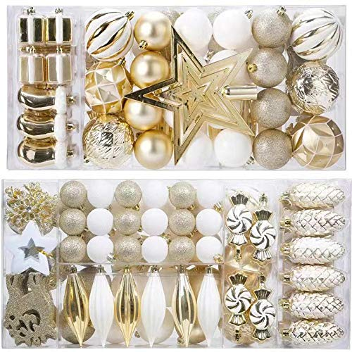 DIY Ornament Balls Clear Fillable Baubles Craft Christmas Decorations Tree Ball for New Years Present Holiday Wedding Party Home Decor Bath Bomb (88Pcs White Gold)