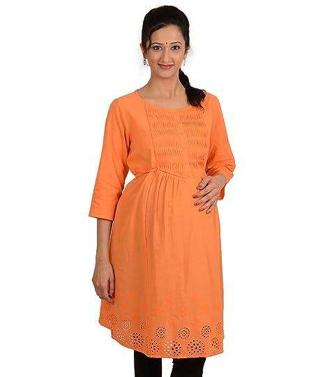367bfafde2227 Kriti Ethnic Maternity Orange Nursing Kurta: Amazon.in: Clothing &  Accessories