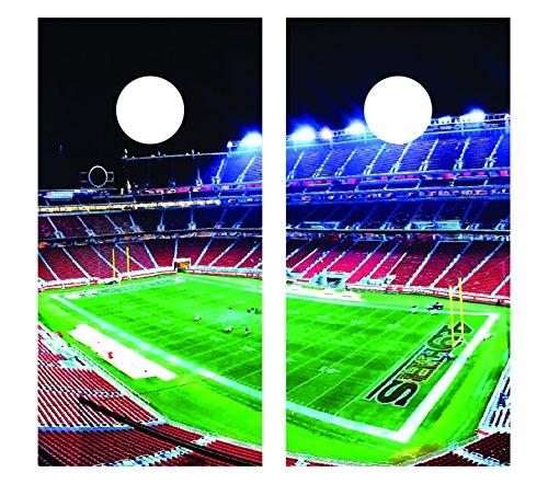 Football Stadium CORNHOLE DECAL WRAP SET Decals Board Boards Vinyl Sticker Stickers Bean Bag Game Wraps Vinyl Graphic Image Corn Hole (Non-Laminated) (unlaminated)