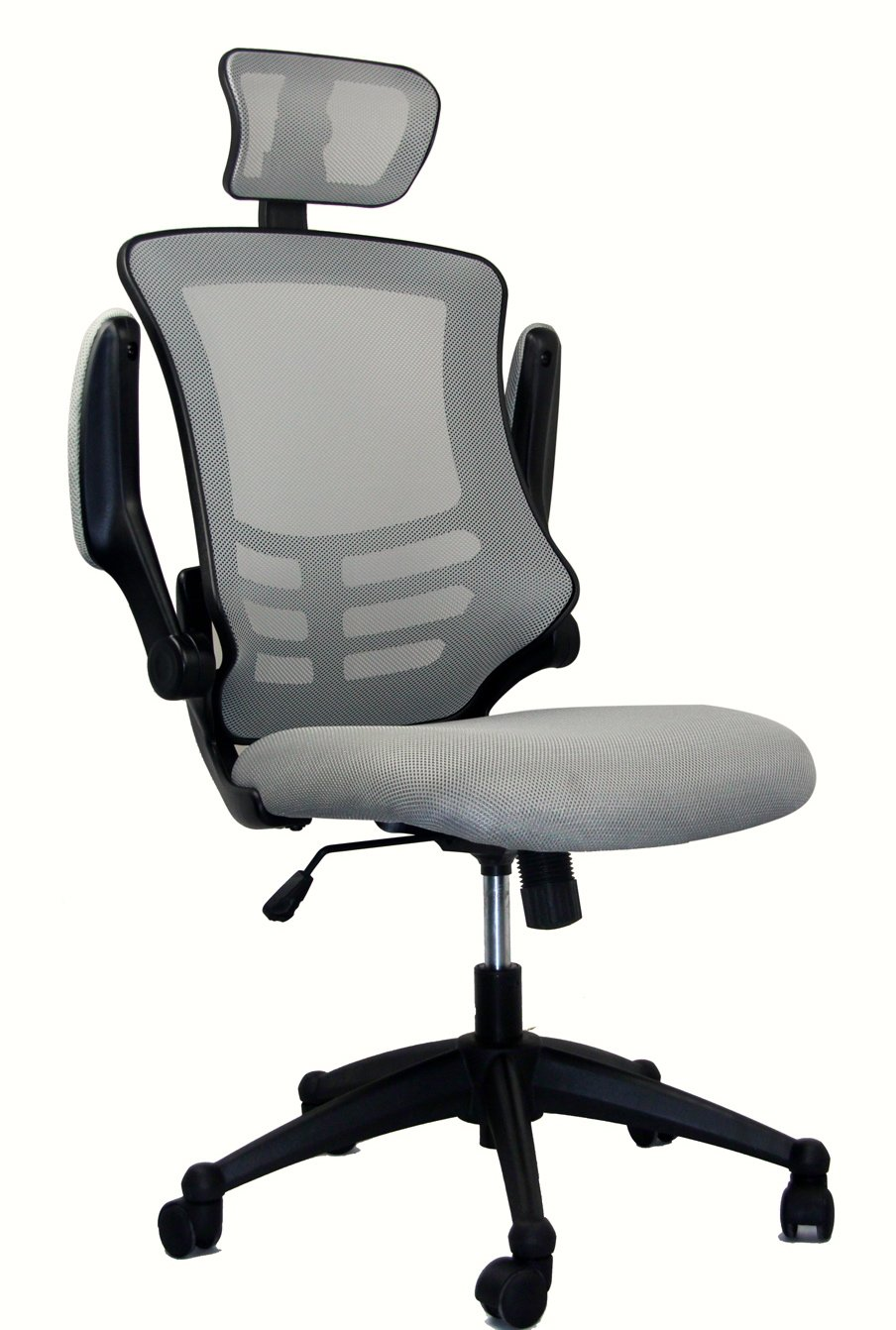 Techni Mobili Modern High Back Mesh Executive Chair With Headrest And Flip Up Arms. Color: Silver Grey