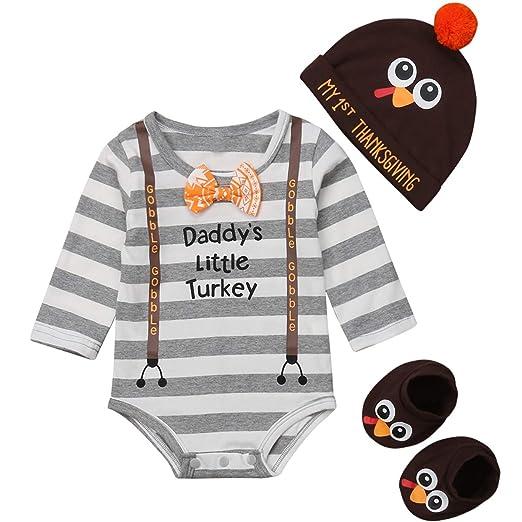 f757dbfcc4d Newborn Baby Boy Girl Daddy s Little Turkey Romper Bodysuit My 1st  Thanksgiving Hat Turkey Socks Outfit